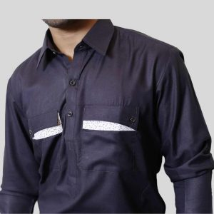 Dark Grey Shalwar Kameez Double Pocket Shirt Collar (Mens shalwar kameez online shopping in Pakistan)