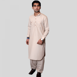 Light Brown Shalwar Kameez Wash N Wear Double Pocket (Mens shalwar kameez online shopping in Pakistan)