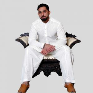 Men's Shalwar Kameez White Cotton Sherwani Collar (Mens shalwar kameez price in Pakistan)