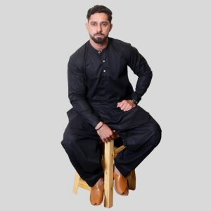 Men's Shalwar Kameez Black Cotton Sherwani Collar (Mens shalwar kameez price in Pakistan)