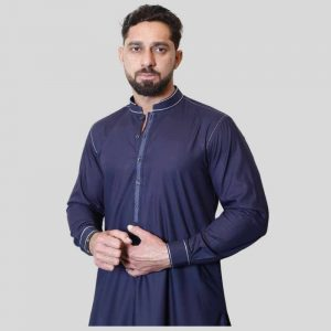 Navy Blue Shalwar Kameez Sherwani Collar with Resham (Mens shalwar kameez price in Pakistan)