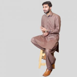 Brown Shalwar Kameez Wash N Wear Stylish Shirt Collar (Mens shalwar kameez online shopping in Pakistan)