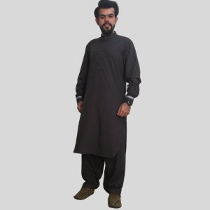 Charcoal Grey Shalwar Kameez With Sherwani Collar (Mens shalwar kameez in Pakistan)