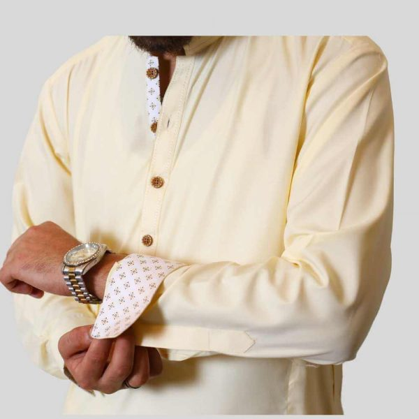 Creem Boski Shalwar Kameez With Sherwani Collar (Mens shalwar kameez online shopping in Pakistan)
