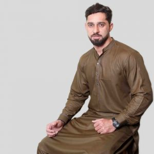 Dark Brown Shalwar Kameez With Sherwani Collar (Mens shalwar kameez online shopping in Pakistan)