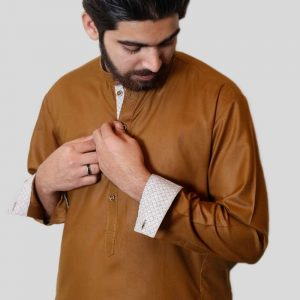 Golden Brown Shalwar Kameez With Sherwani Collar (Mens shalwar kameez online shopping in Pakistan)