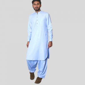 Light Blue Sherwani Collar Shalwar Kameez For Men (Mens shalwar kameez online shopping in Pakistan)
