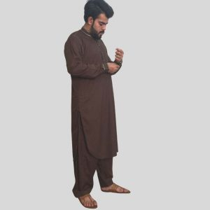 Mens Brown Shalwar Kameez With Sherwani Collar (Mens shalwar kameez online Pakistan)