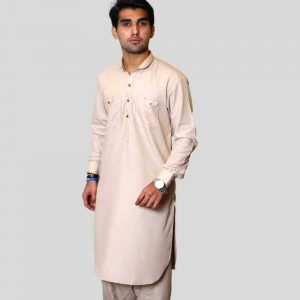 Off White Shalwar Kameez With Double Pocket For Men (Mens shalwar kameez online shopping in Pakistan)