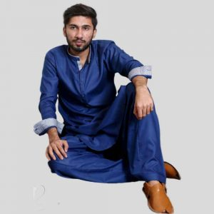 Royal Blue Shalwar Kameez For Men With Sherwani Collar (Mens shalwar kameez online shopping in Pakistan)