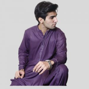 Purple Stylish Shalwar Kameez For Men with Sherwani Collar (Mens shalwar kameez sale in Pakistan)