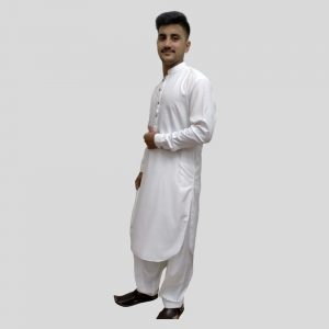 White Men's Shalwar Kameez With Sherwani Collar (Mens shalwar kameez sale in Pakistan)