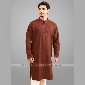 Elegant Shemre Cotton Men's Kurta - Brown