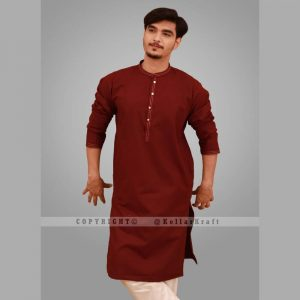 Elegant Shemre Cotton Men's Kurta - Maroon
