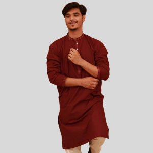 Elegant Shemre Cotton Men's Kurta - Maroon in Pakistan