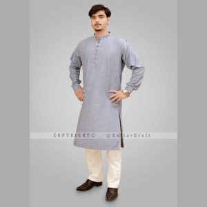 Loop Blue Shemre Cotton Men's Kurta 1