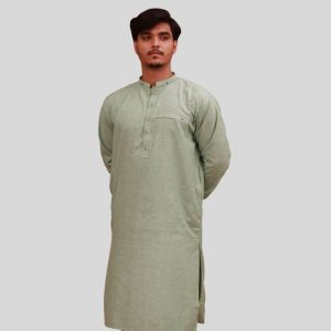 Stylish Shemre Cotton Men's Kurta - Pocket Green in Pakistan