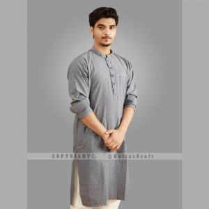 Stylish Shemre Cotton Men's Kurta - Pocket Grey 1