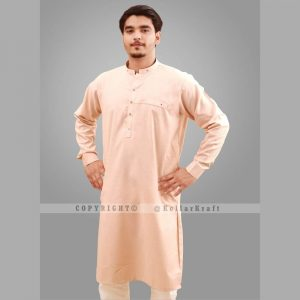 Stylish Shemre Cotton Men's Kurta - Pocket Peach 2