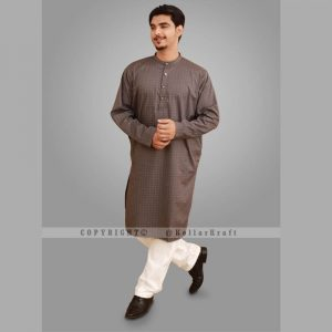 Stylish Shemre Cotton Men's Kurta - Print Grey 1