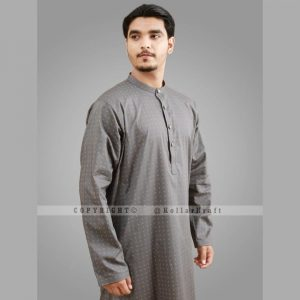 Stylish Shemre Cotton Men's Kurta - Print Grey 2
