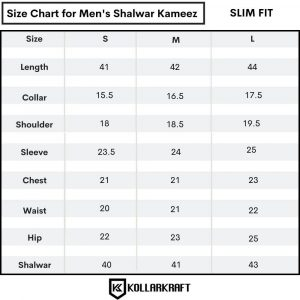 size chart for men shalwar kameez